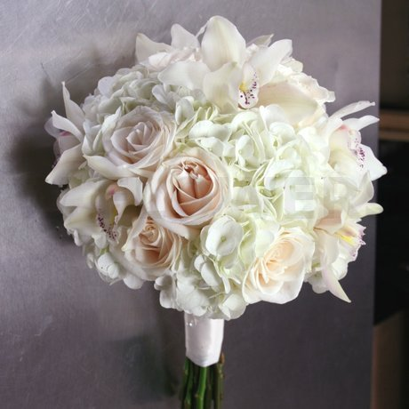 W Flowers product: Wedding Bouquet with White Hydrangea and Orchids