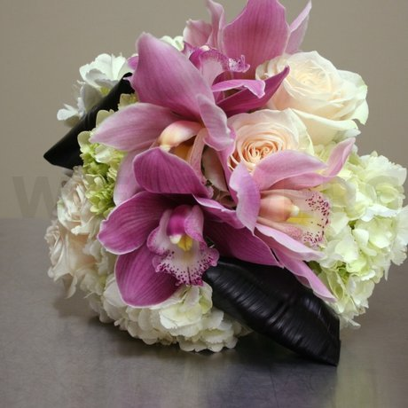 W Flowers product: Wedding Bouquet with white hydrangea and pink orchids
