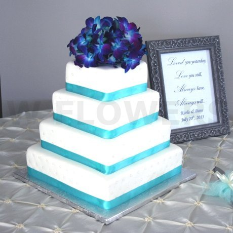 W Flowers product: Wedding Cake Topper in turquoise andblue