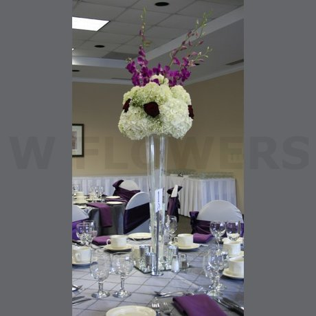 W Flowers product: Wedding centerpiece in eggplant