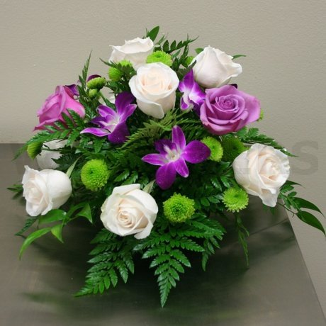 W Flowers product: Wedding Centerpiece with fuchsia orchids