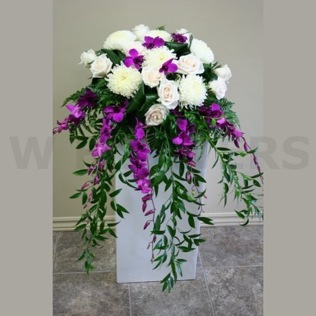W Flowers product: Wedding Ceremony Flowers with Purple Orchids