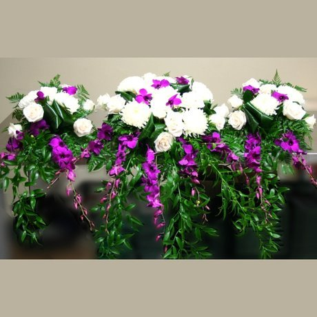 W Flowers product: Wedding Head Table Decoration with purple orchids