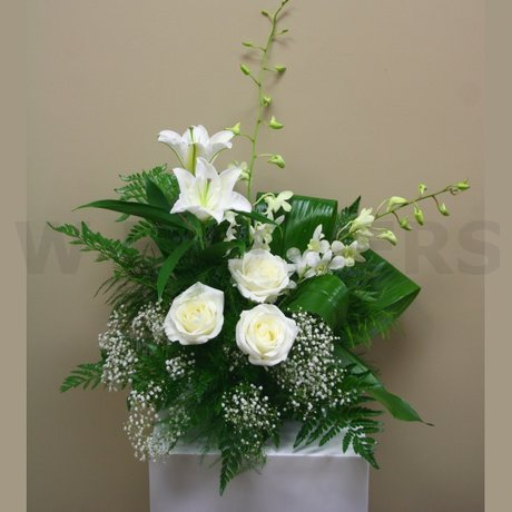 W Flowers product: Wedding Pedestal Arrangement in white