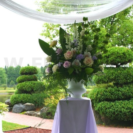 W Flowers product: Wedding Urn Flower Arrangement in Purple and White