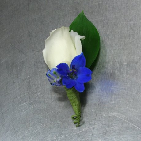W Flowers product: White and Blue Boutonniere