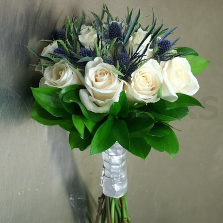 W Flowers product: White and Blue Bridal Bouquet