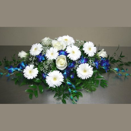 W Flowers product: White and Blue Casket Spray
