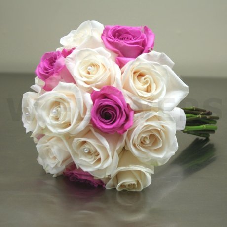 W Flowers product: White and Fuchsia Roses Bridal Bouquet