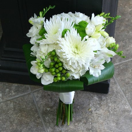 W Flowers product: White and Lime Green Wedding Bouquet