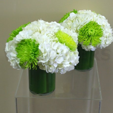 W Flowers product: White and Lime Green Wedding Centerpiece