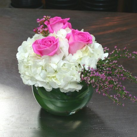W Flowers product: White and Pink Wedding Centerpiece