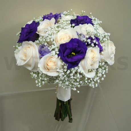 W Flowers product: White and Purple Bridal Bouquet