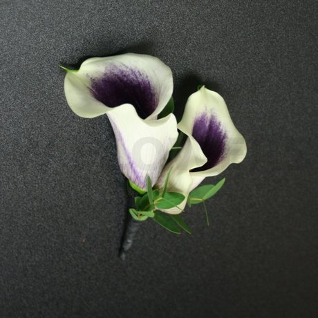 W Flowers product: White and Purple Calla Groom's Boutonnier