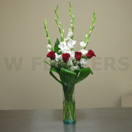 W Flowers product: White and Red Vase Arrangement