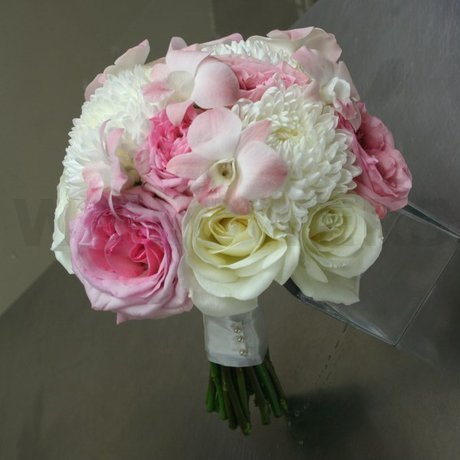W Flowers product: White and Soft Pink Bridal Bouquet
