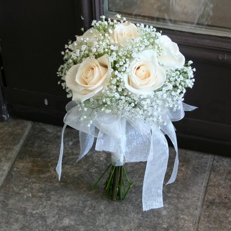 W Flowers product: White bridal bouquet with ribbons