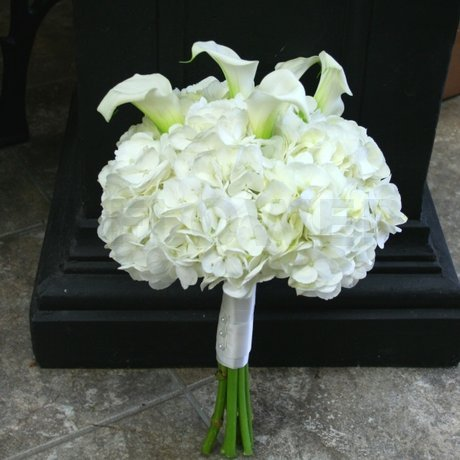 W Flowers product: White calla and hydrangea wedding bouquet
