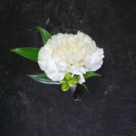 W Flowers product: White Carnation Boutonniere
