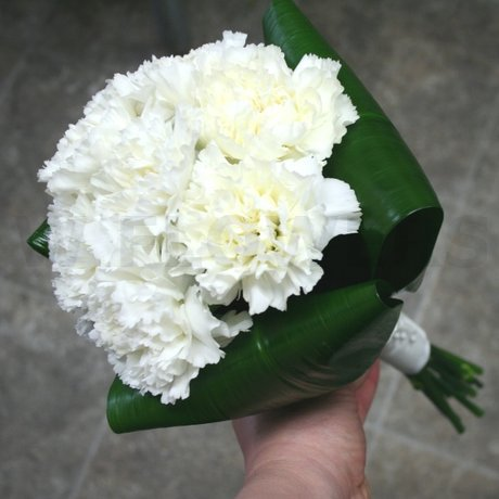 W Flowers product: White Carnations Wedding Bouquet