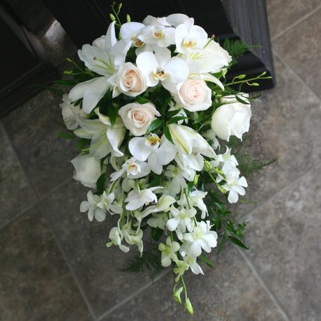 White Cascading Wedding Bouquet With Phalaenopsis W Flowers Ottawa