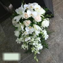 W Flowers product category: White Cascading Wedding Bouquet with Phalaenopsis