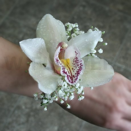 W Flowers product: White cymbidium orchid corsage