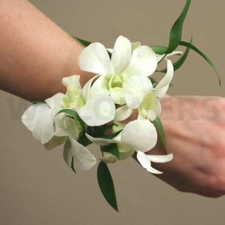 W Flowers product: White Dendrobium Orchid Wrist Corsage