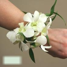 W Flowers product category: White Dendrobium Orchid Wrist Corsage