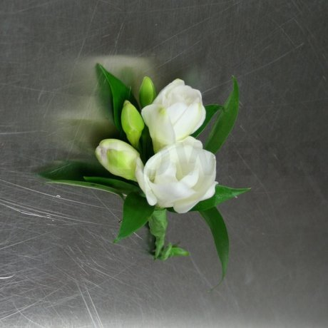 W Flowers product: White Freesia Corsage