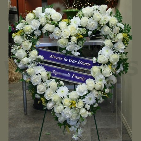 W Flowers product: White Funeral Heart
