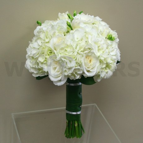 W Flowers product: White hydrangea and freesia bridal bouquet