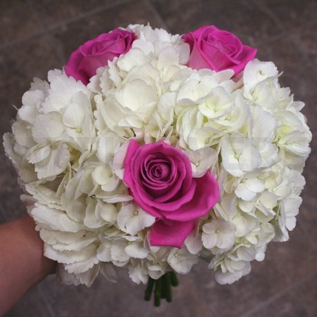 W Flowers product: White hydrangea and pink roses wedding bouquet