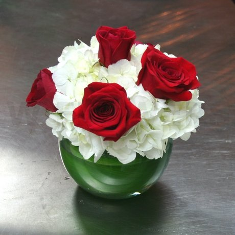 W Flowers product: White Hydrangea and Red Roses Centerpiece