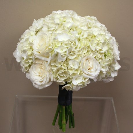 W Flowers product: White hydrangea wedding bouquet