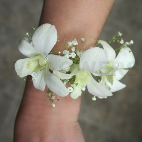 W Flowers product: White orchids prom wrist corsage