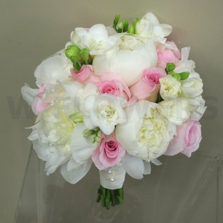 W Flowers product: White Peonies and pink roses bridal bouquet