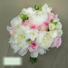 W Flowers product category: White Peonies and pink roses bridal bouquet