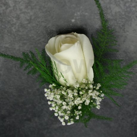 W Flowers product: White Rose Corsage