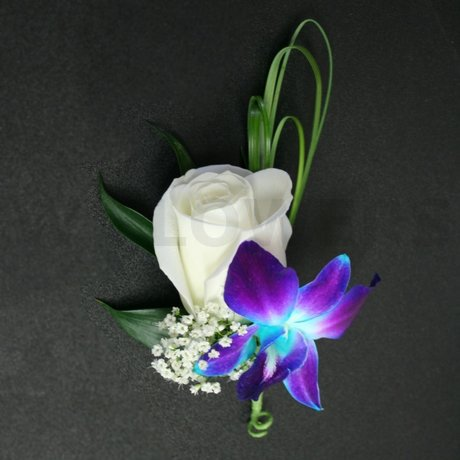 White Rose with Blue Orchid Boutonniere - W Flowers Ottawa