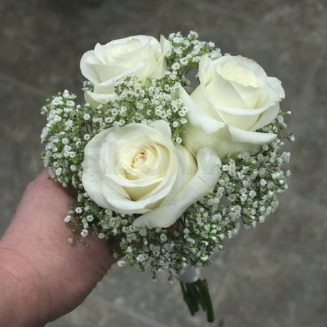W Flowers product: White Roses and Baby Breath Bouquet