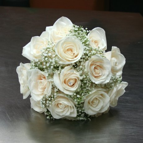 W Flowers product: White roses bridal bouquet