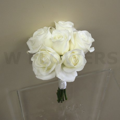 W Flowers product: White roses bridesmaid bouquet