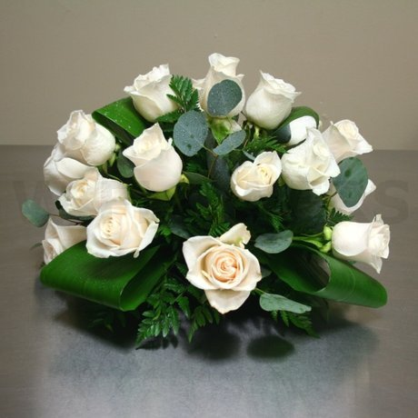 W Flowers product: White Roses Centerpiece