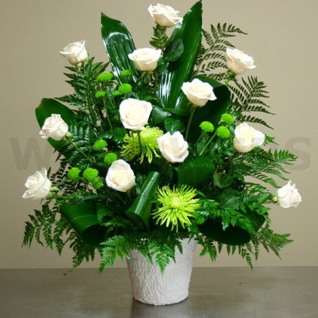 W Flowers product: White Roses Funeral Tribute