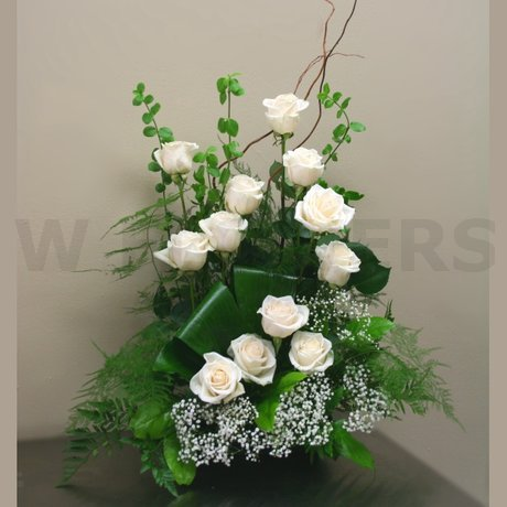W Flowers product: White Roses Tribute