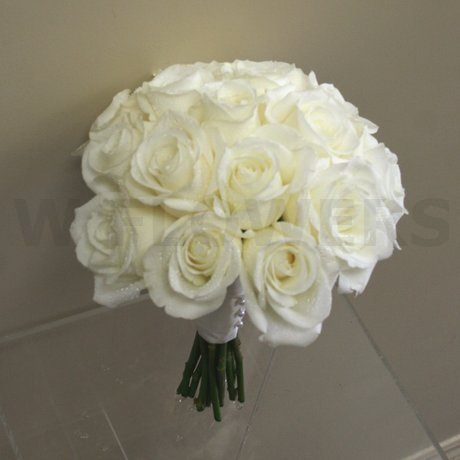 W Flowers product: White roses wedding bouquet