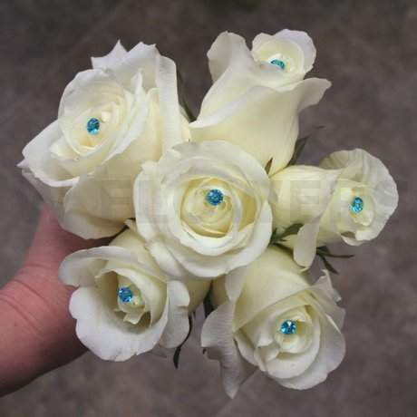 W Flowers product: White Roses with Blue Crystals Bouquet