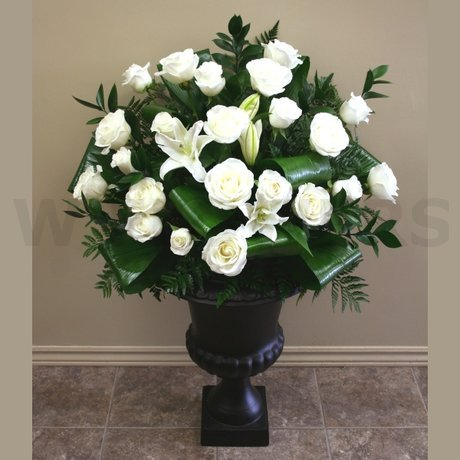 W Flowers product: White Wedding Ceremony flowers in urn