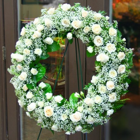 W Flowers product: White wreath for funeral